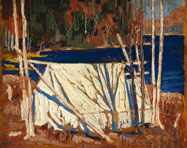 Tom Thomson (1877-1917) The Tent  1915 Oil on wood panel, 21.5 x 26.8 cm Purchase 1979 McMichael Canadian Art Collection